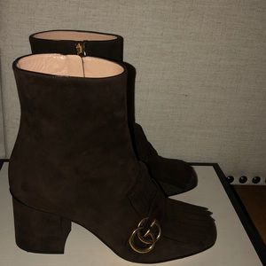 GUCCI Marmont Suede Mid Calf Boots